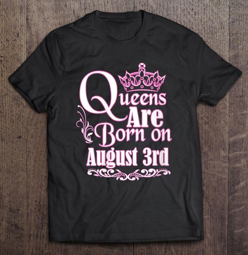 Womens Queens Are Born On August 3Rd Virgo Leo Womens Birthday V-Neck Shirt