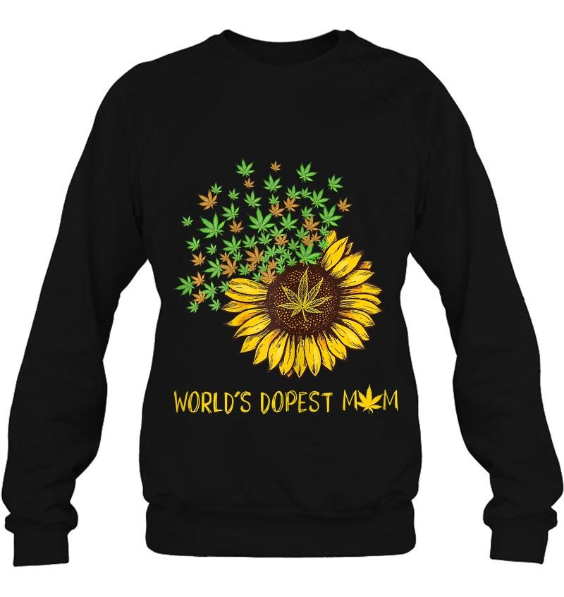 Womens World's Dopest Mom Sunflower Weed Cannabis Funny Mugs